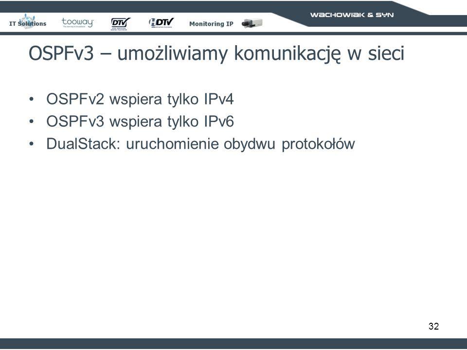 32 OSPFv2 wspiera tylko IPv4 OSPFv3 wspiera tylko IPv6 DualStack: uruchomienie obydwu protokołów OSPFv3 – umożliwiamy komunikację w sieci
