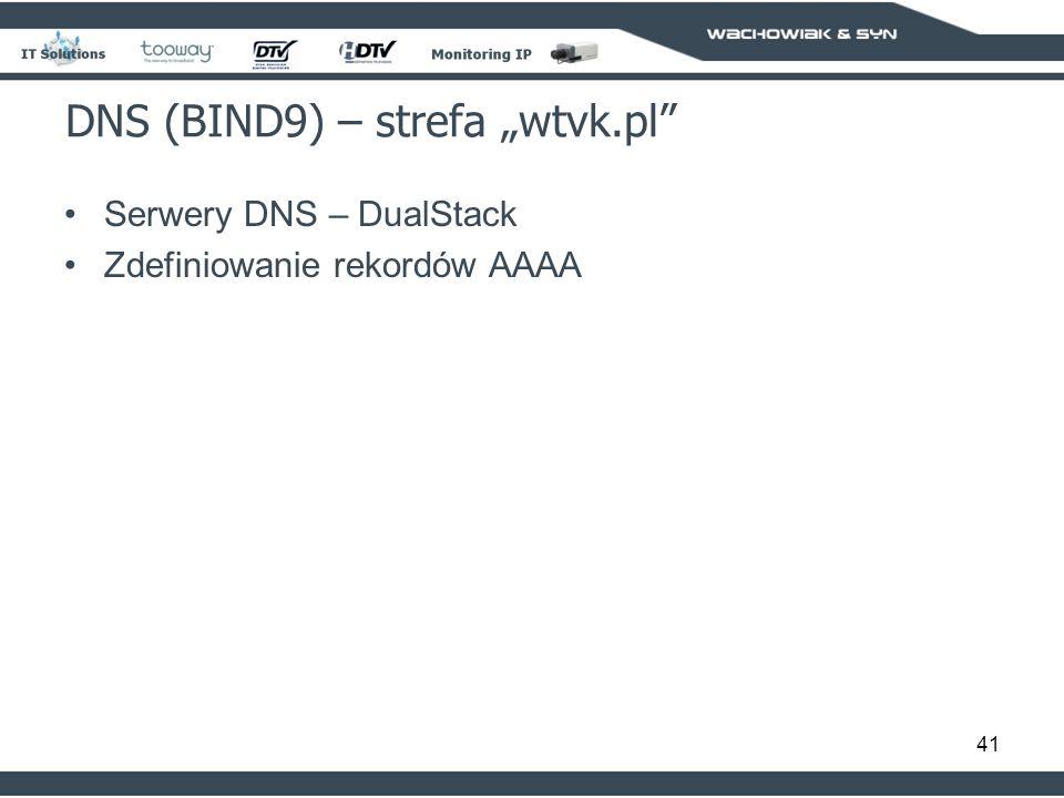 41 DNS (BIND9) – strefa wtvk.pl Serwery DNS – DualStack Zdefiniowanie rekordów AAAA