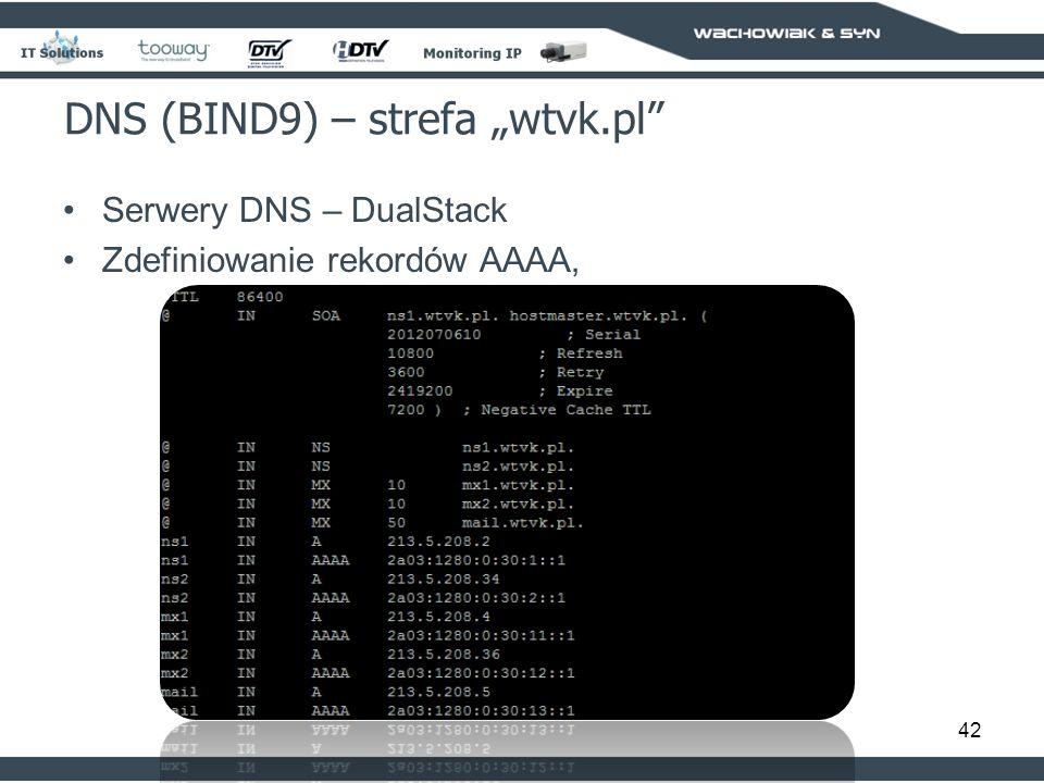 42 DNS (BIND9) – strefa wtvk.pl Serwery DNS – DualStack Zdefiniowanie rekordów AAAA,
