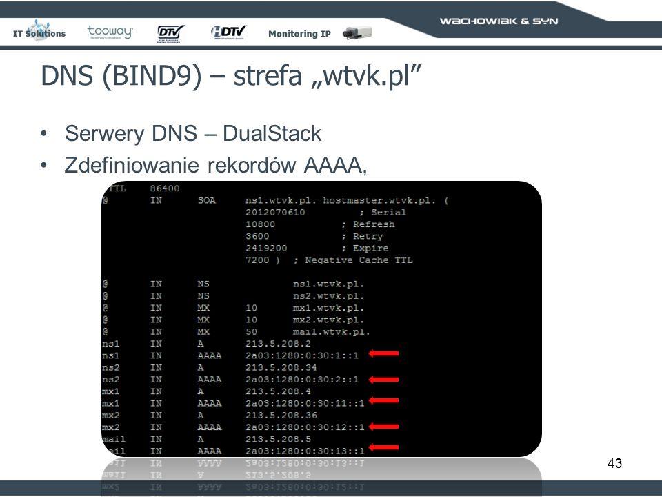 43 DNS (BIND9) – strefa wtvk.pl Serwery DNS – DualStack Zdefiniowanie rekordów AAAA,