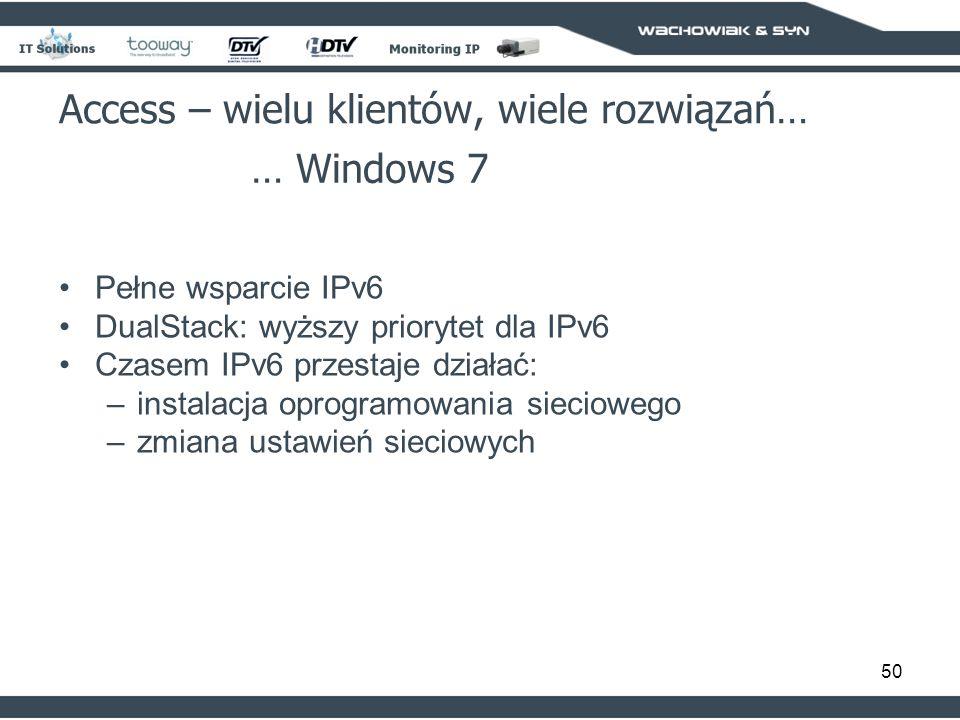 50 Access – wielu klientów, wiele rozwiązań… … Windows 7 Pełne wsparcie IPv6 DualStack: wyższy priorytet dla IPv6 Czasem IPv6 przestaje działać: –instalacja oprogramowania sieciowego –zmiana ustawień sieciowych