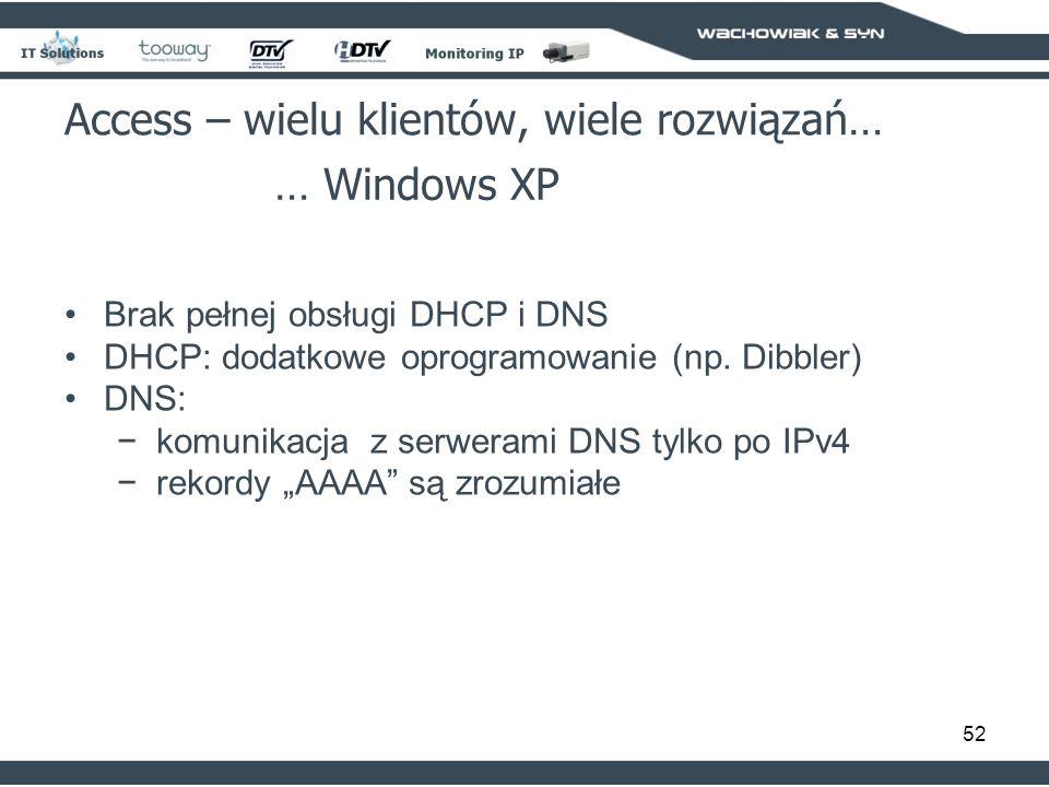 52 Access – wielu klientów, wiele rozwiązań… … Windows XP Brak pełnej obsługi DHCP i DNS DHCP: dodatkowe oprogramowanie (np. Dibbler) DNS: komunikacja