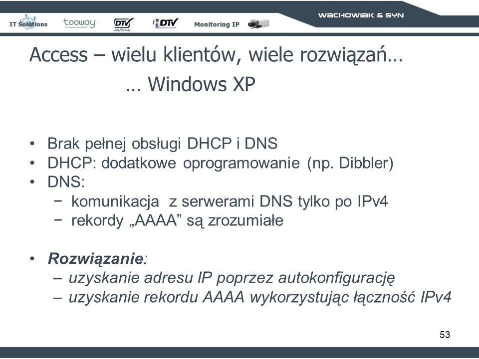 53 Access – wielu klientów, wiele rozwiązań… … Windows XP Brak pełnej obsługi DHCP i DNS DHCP: dodatkowe oprogramowanie (np. Dibbler) DNS: komunikacja