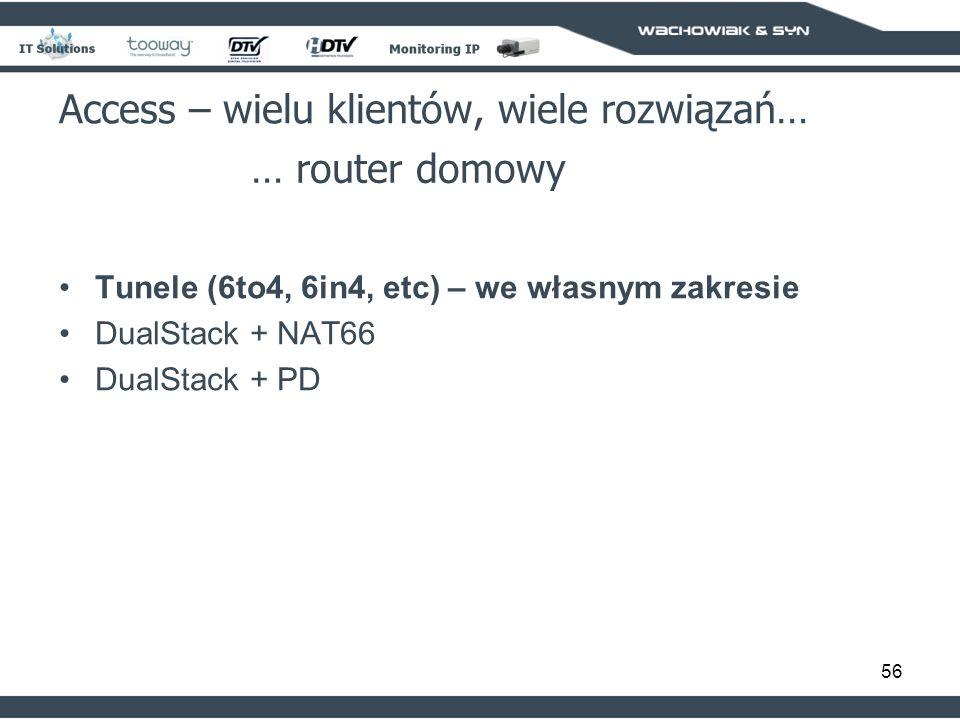 56 Access – wielu klientów, wiele rozwiązań… … router domowy Tunele (6to4, 6in4, etc) – we własnym zakresie DualStack + NAT66 DualStack + PD