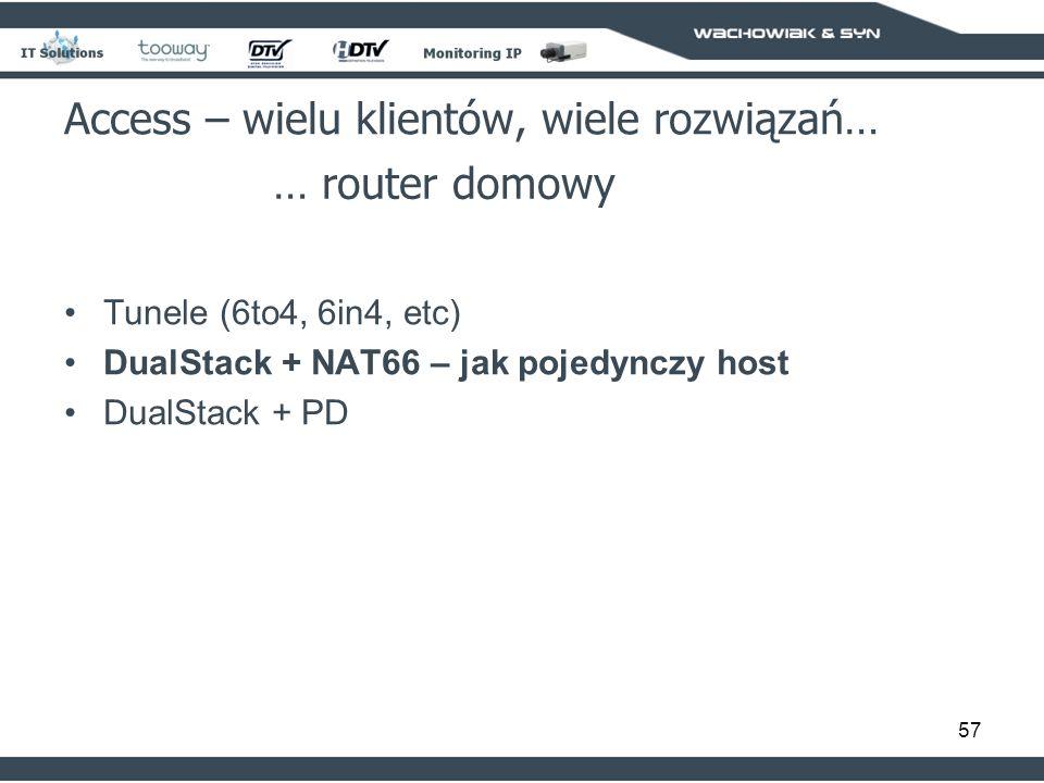 57 Access – wielu klientów, wiele rozwiązań… … router domowy Tunele (6to4, 6in4, etc) DualStack + NAT66 – jak pojedynczy host DualStack + PD