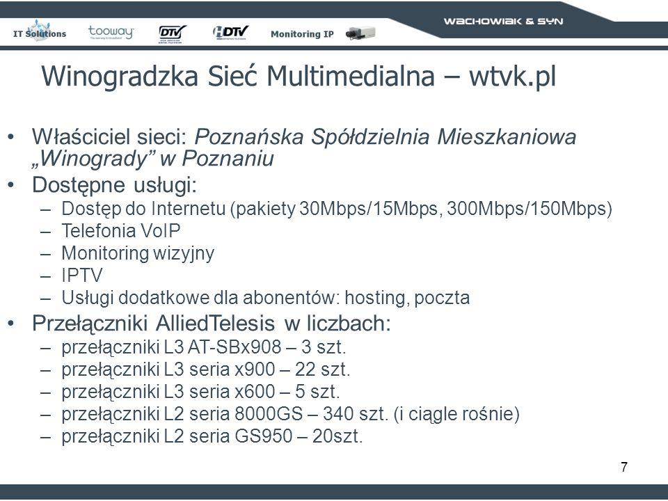 7 Właściciel sieci: Poznańska Spółdzielnia Mieszkaniowa Winogrady w Poznaniu Dostępne usługi: –Dostęp do Internetu (pakiety 30Mbps/15Mbps, 300Mbps/150Mbps) –Telefonia VoIP –Monitoring wizyjny –IPTV –Usługi dodatkowe dla abonentów: hosting, poczta Przełączniki AlliedTelesis w liczbach: –przełączniki L3 AT-SBx908 – 3 szt.