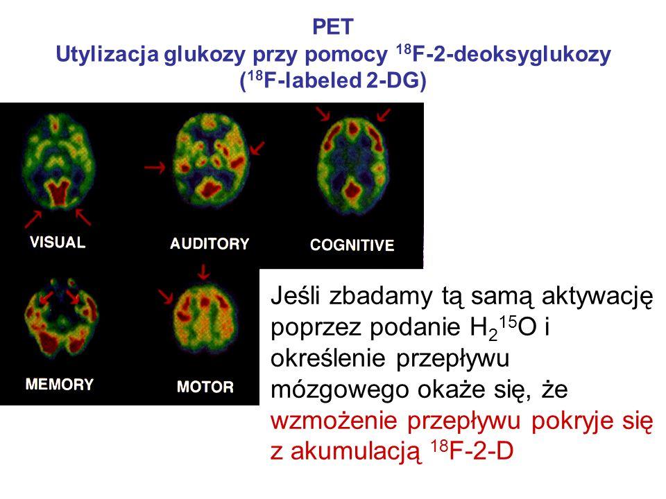 PET Utylizacja glukozy przy pomocy 18 F-2-deoksyglukozy ( 18 F-labeled 2-DG) Jeśli zbadamy tą samą aktywację poprzez podanie H 2 15 O i określenie prz