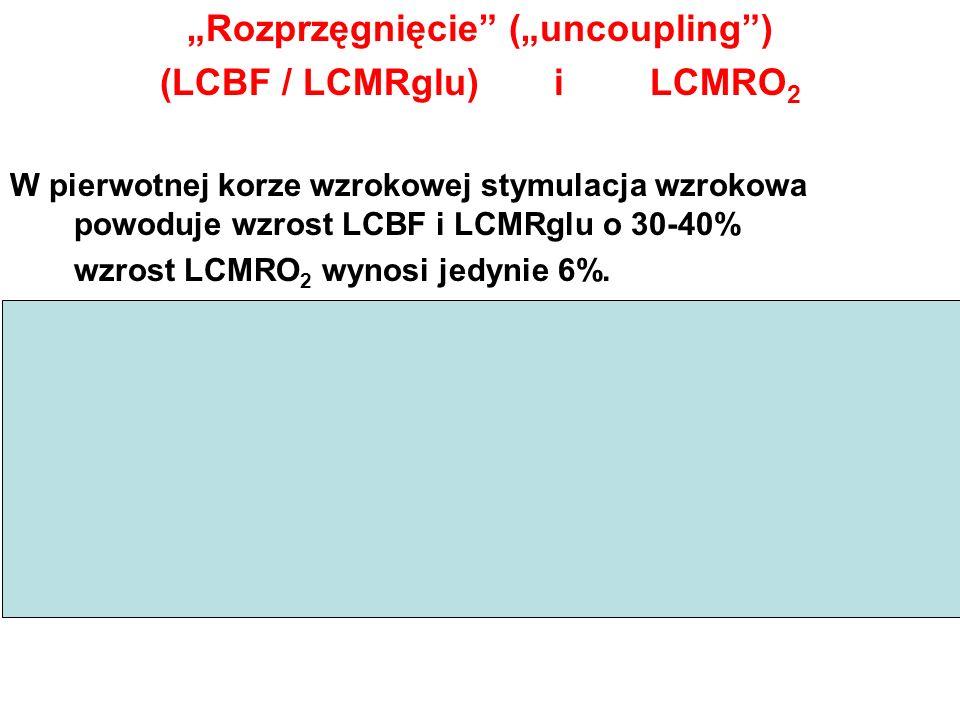 Rozprzęgnięcie (uncoupling) (LCBF / LCMRglu) i LCMRO 2 W pierwotnej korze wzrokowej stymulacja wzrokowa powoduje wzrost LCBF i LCMRglu o 30-40% wzrost
