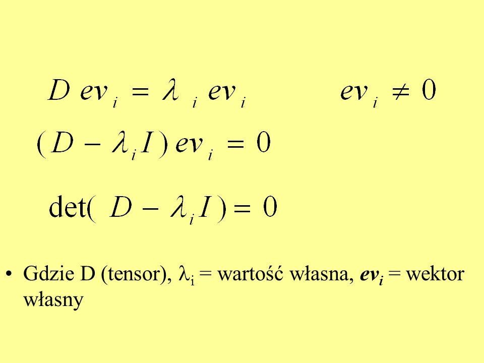 Diagonalizacja tensora: pary eigenvalues i eigenvectors: [ 1 v 1 ][ 2 v 2 ] [ 3 v 3 ]), największa(e) spośród wartości własnych wyznaczają najsilniejszą dyfuzję i jej kierunek (określony przez odpowiedni wektor własny).