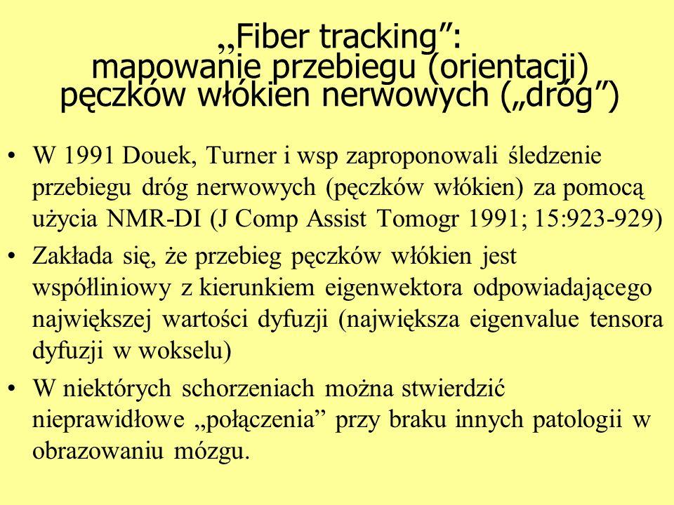 Fiber tracking: mapowanie przebiegu (orientacji) pęczków włókien nerwowych (dróg) W 1991 Douek, Turner i wsp zaproponowali śledzenie przebiegu dróg ne