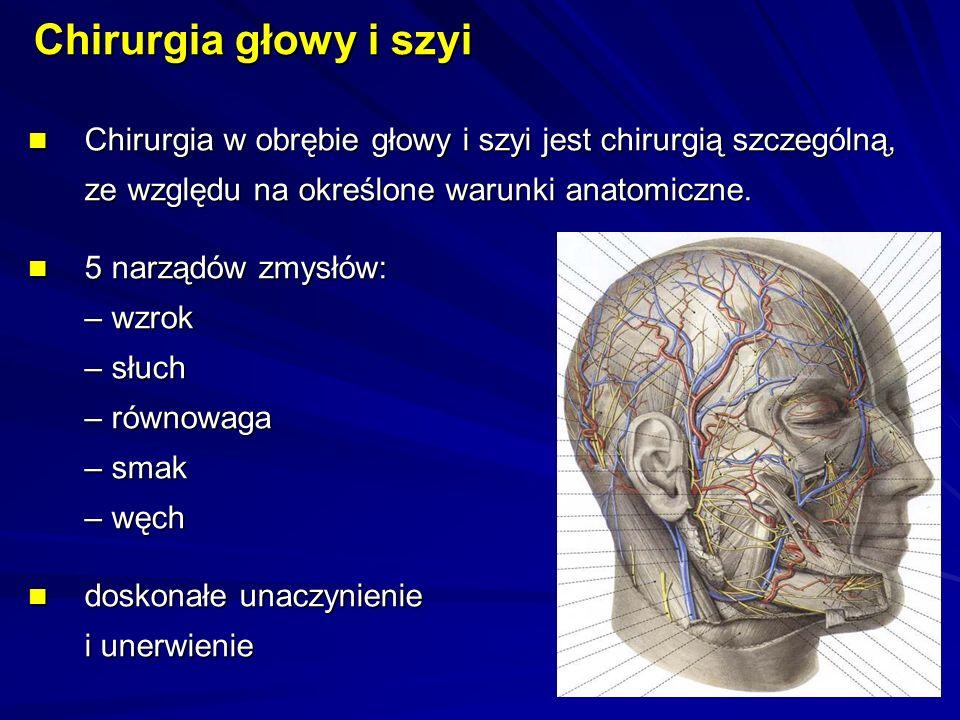 Chirurgia w obrębie głowy i szyi jest chirurgią szczególną, ze względu na określone warunki anatomiczne.