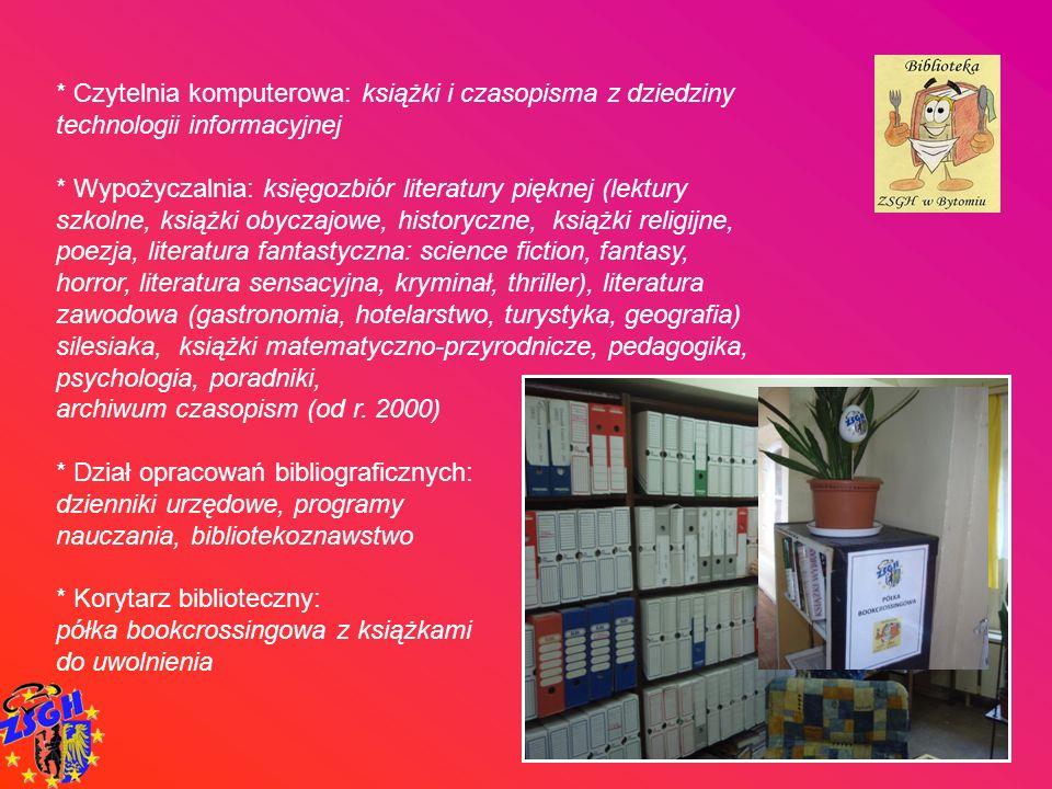 * Czytelnia komputerowa: książki i czasopisma z dziedziny technologii informacyjnej * Wypożyczalnia: księgozbiór literatury pięknej (lektury szkolne,