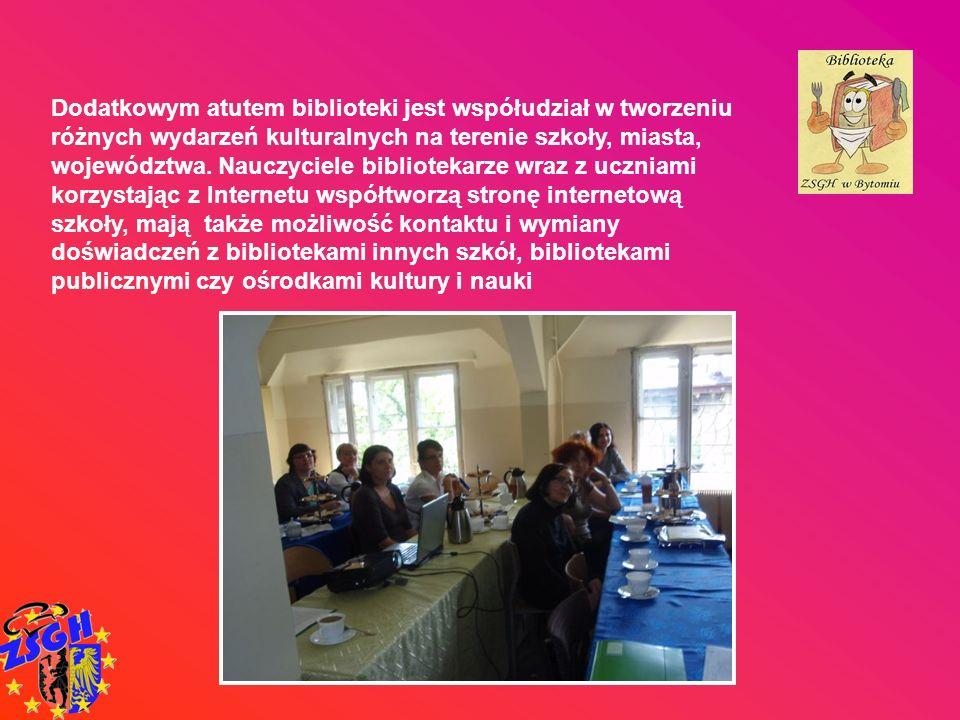 Dodatkowym atutem biblioteki jest współudział w tworzeniu różnych wydarzeń kulturalnych na terenie szkoły, miasta, województwa. Nauczyciele biblioteka