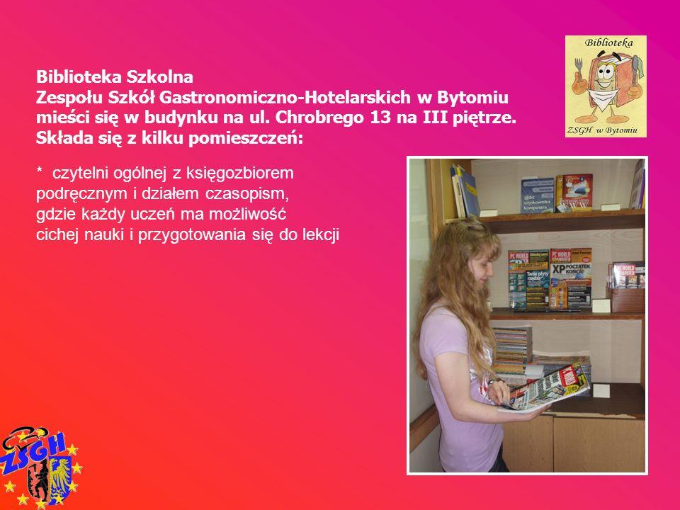 * czytelni komputerowej wyposażonej w trzy stanowiska komputerowe i księgozbiór dotyczący technologii informacyjnej Biblioteka Szkolna Zespołu Szkół Gastronomiczno-Hotelarskich w Bytomiu mieści się w budynku na ul.