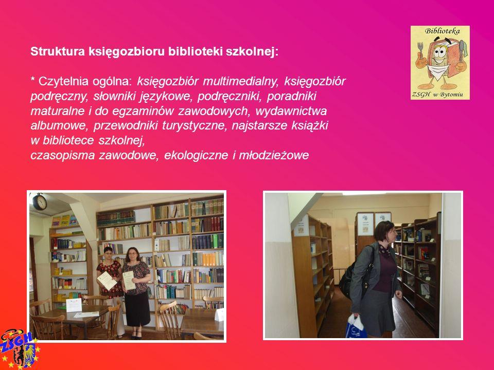 Struktura księgozbioru biblioteki szkolnej: * Czytelnia ogólna: księgozbiór multimedialny, księgozbiór podręczny, słowniki językowe, podręczniki, pora