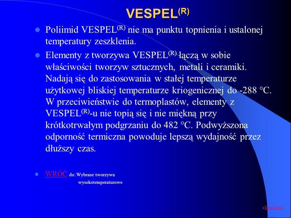 VESPEL (R) Poliimid VESPEL (R) nie ma punktu topnienia i ustalonej temperatury zeszklenia. Elementy z tworzywa VESPEL (R) łączą w sobie właściwości tw