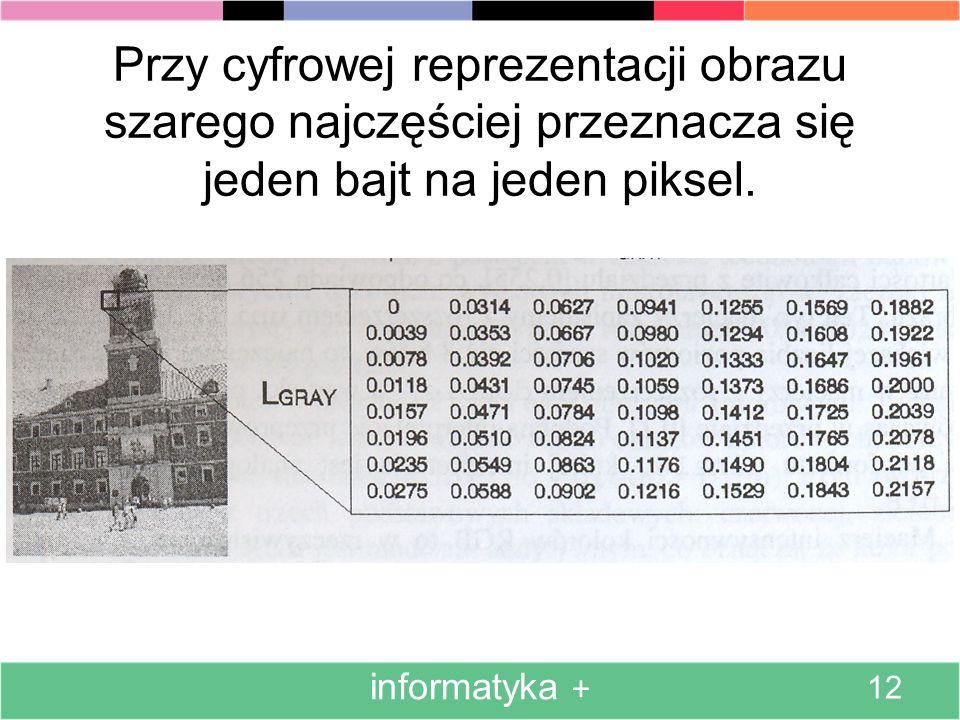 Wygląd oraz sposób kodowania w pamięci komputera obrazu binarnego przedstawia rysunek. informatyka + 11