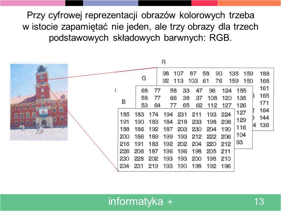 Przy cyfrowej reprezentacji obrazu szarego najczęściej przeznacza się jeden bajt na jeden piksel. informatyka + 12