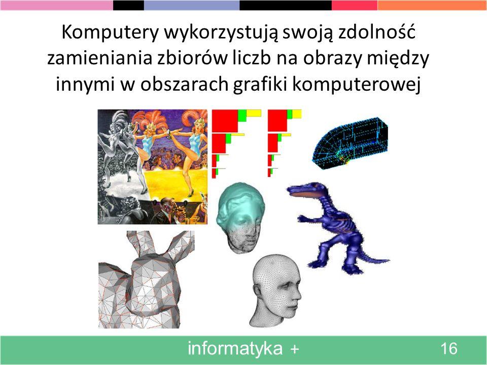 Przejdziemy teraz do zagadnień wykorzystania komputerowych zdolności manipulowania obrazami. informatyka + 15