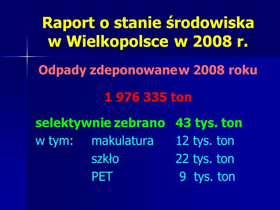 Odpady zdeponowanew 2008 roku 1 976 335 ton selektywnie zebrano 43 tys.