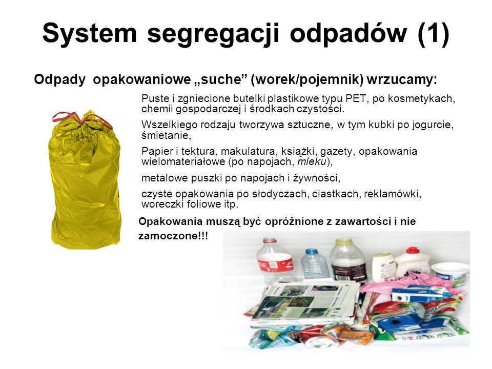 System segregacji odpadów (1) Puste i zgniecione butelki plastikowe typu PET, po kosmetykach, chemii gospodarczej i środkach czystości.