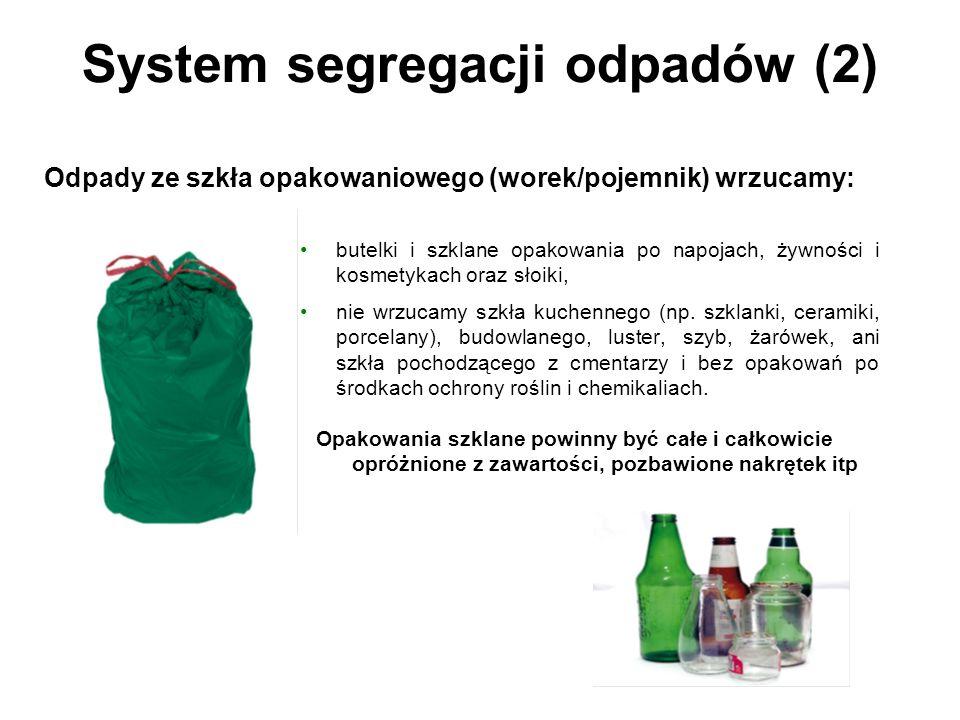 System segregacji odpadów (2) butelki i szklane opakowania po napojach, żywności i kosmetykach oraz słoiki, nie wrzucamy szkła kuchennego (np.