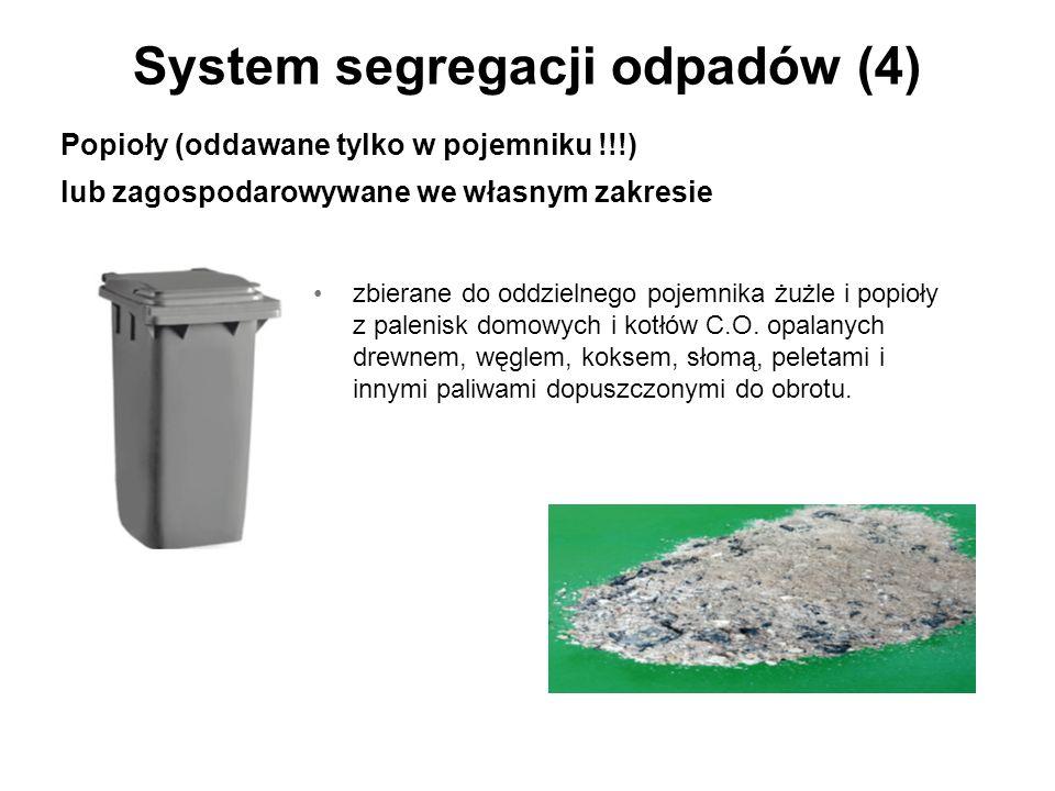 System segregacji odpadów (4) zbierane do oddzielnego pojemnika żużle i popioły z palenisk domowych i kotłów C.O.