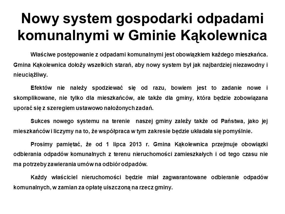 Nowy system gospodarki odpadami komunalnymi w Gminie Kąkolewnica Właściwe postępowanie z odpadami komunalnymi jest obowiązkiem każdego mieszkańca.