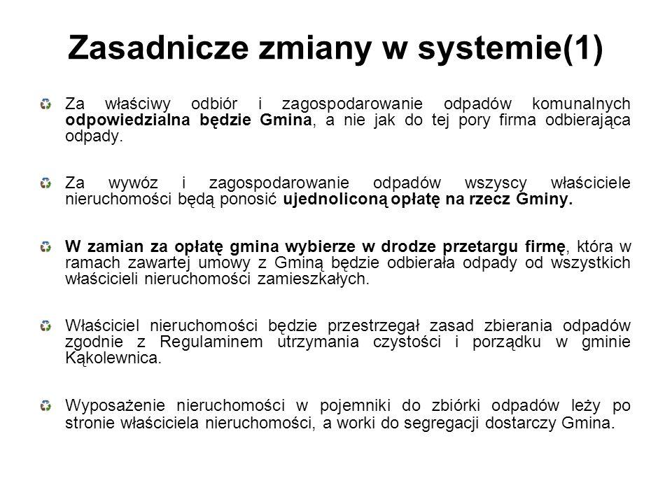 Zasadnicze zmiany w systemie(1) Za właściwy odbiór i zagospodarowanie odpadów komunalnych odpowiedzialna będzie Gmina, a nie jak do tej pory firma odbierająca odpady.