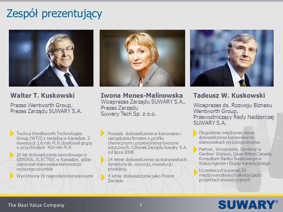 2 Zespół prezentujący Iwona Menes-Malinowska Wiceprezes Zarządu SUWARY S.A., Prezes Zarządu Suwary Tech Sp. z o.o. Długoletnie międzynarodowe doświadc