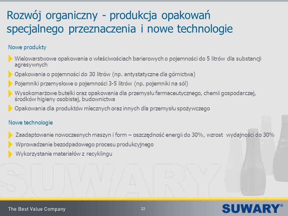 22 Rozwój organiczny - produkcja opakowań specjalnego przeznaczenia i nowe technologie Wielowarstwowe opakowania o właściwościach barierowych o pojemn