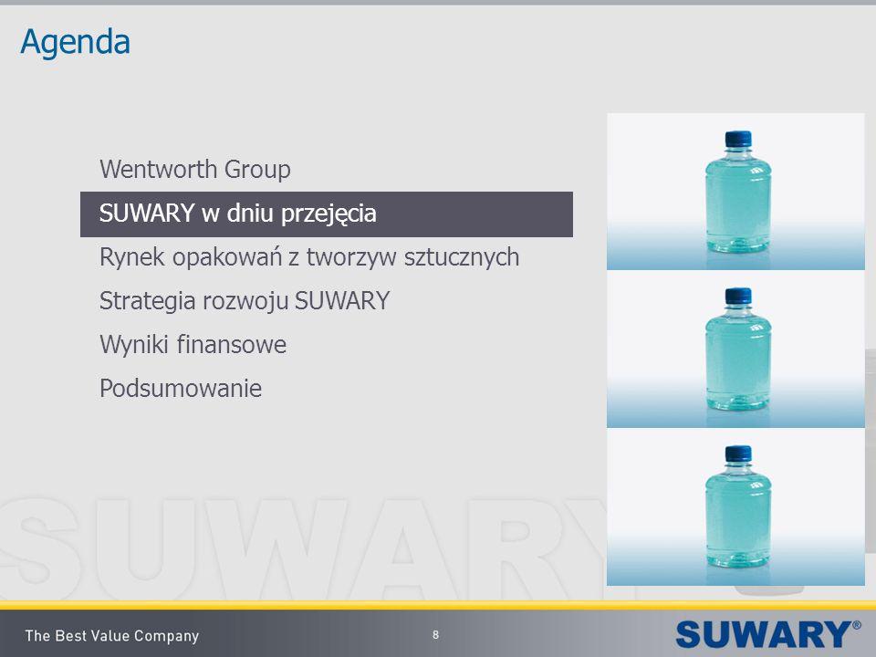 8 Agenda Wentworth Group SUWARY w dniu przejęcia Rynek opakowań z tworzyw sztucznych Strategia rozwoju SUWARY Wyniki finansowe Podsumowanie