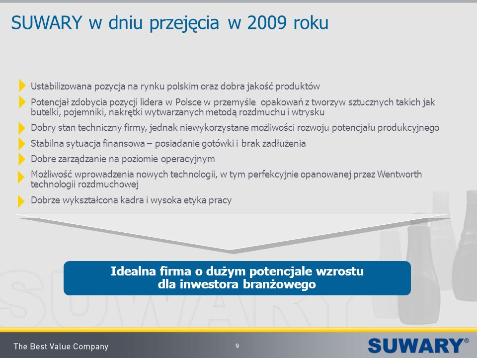SUWARY w dniu przejęcia w 2009 roku Ustabilizowana pozycja na rynku polskim oraz dobra jakość produktów Potencjał zdobycia pozycji lidera w Polsce w p