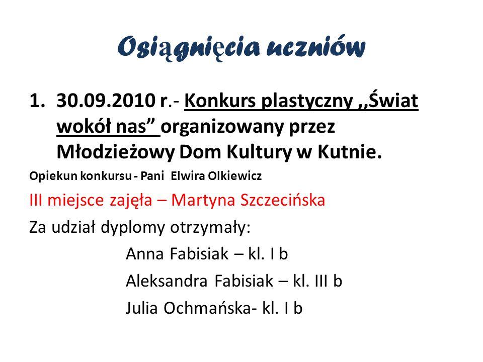 Osi ą gni ę cia uczniów 1.30.09.2010 r.- Konkurs plastyczny,,Świat wokół nas organizowany przez Młodzieżowy Dom Kultury w Kutnie.