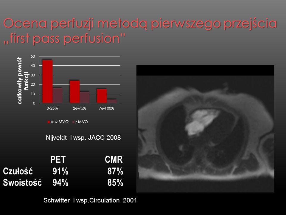 Ocena perfuzji metodą pierwszego przejścia first pass perfusion PET CMR Czułość 91% 87% Swoistość 94% 85% Schwitter i wsp.Circulation 2001 Nijveldt i