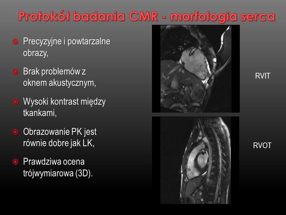Metoda badaniaTomografia komputerowa Rezonans magnetyczny Czułość97,2 %87,1% Swistość87,4 %70.3% Metaanaliza 89 badań CT ( n=7516 ), 20 badań CMR ( n=989 ) Schuez G.M.