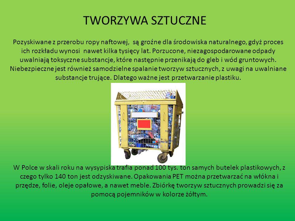 RECYKLING CHEMICZNY -obejmuje procesy, w których zużyte materiały odpadowe przetwarzane są do materiałów o innych właściwościach fizykochemicznych (np.