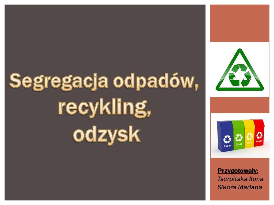 Odpady możemy podzielić na: - Odpady przymyslowe -- odpady poprodukcyjne -- odpady powstające w gospodarce magazynowej -- odpady powstające w wyniku oczyszczania ścieków i emitowanych do atmosfery gazów -- odpady z przemysłu wydobywczego Odpady komunalne -- odpadowe produkty spoż.