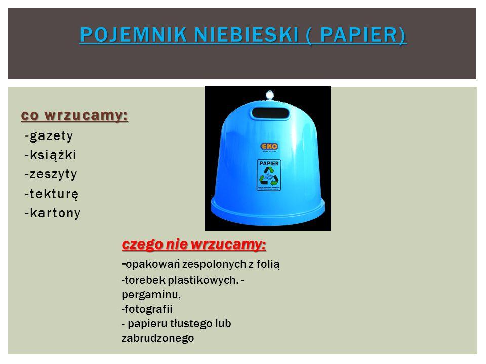 POJEMNIK ZIELONY POJEMNIK BIAŁY POJEMNIK ZIELONY (SZKŁO KOLOROWE) POJEMNIK BIAŁY ( SZKŁO BEZBARWNE) co wrzucamy: - butelki -słoiki - szklanki -stłuczkę szklaną czego nie wrzucamy: -zakrętek, - przykrywek, -porcelany -lamp neonowych, halogenowych