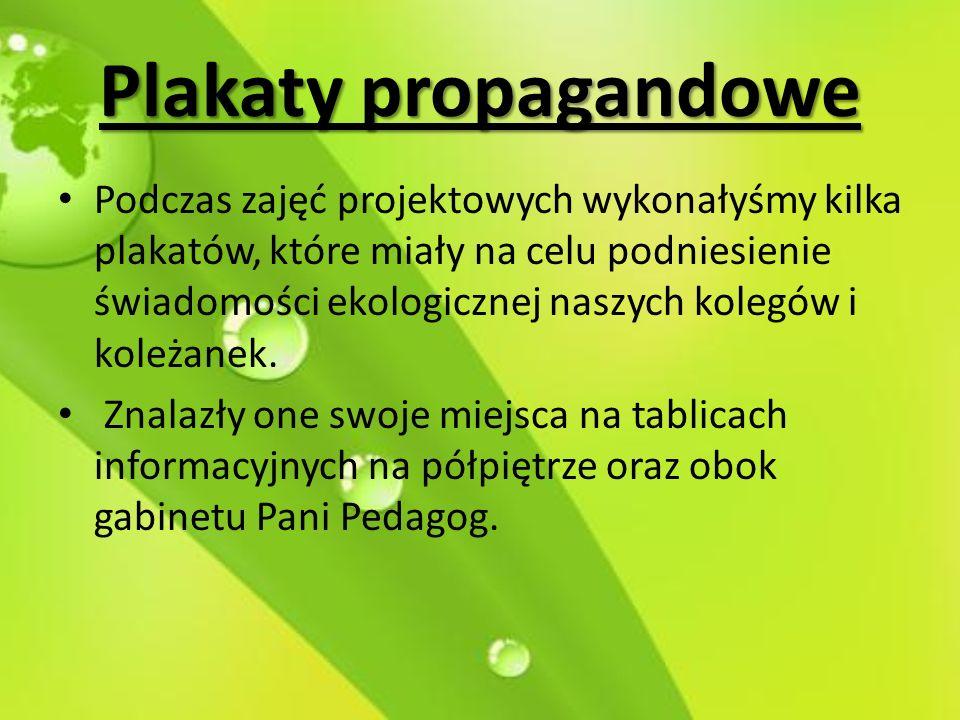 Plakaty propagandowe Podczas zajęć projektowych wykonałyśmy kilka plakatów, które miały na celu podniesienie świadomości ekologicznej naszych kolegów