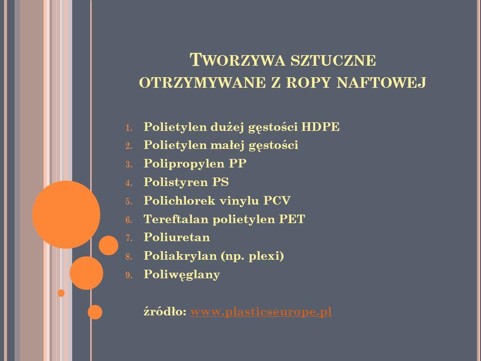T WORZYWA SZTUCZNE OTRZYMYWANE Z ROPY NAFTOWEJ 1. Polietylen dużej gęstości HDPE 2. Polietylen małej gęstości 3. Polipropylen PP 4. Polistyren PS 5. P