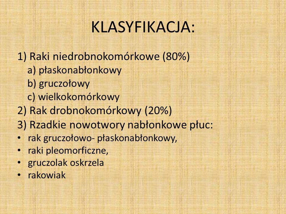 EPIDEMIOLOGIA: rak płuca stanowi 90% wszystkich nowotworów płuc, najczęstszy nowotwór złośliwy na świecie, w Polsce powoduje 1/3 wszystkich zgonów z powodu chorób nowotworowych u mężczyzn, 11 % u kobiet, średni wiek zachorowania to 60 r.