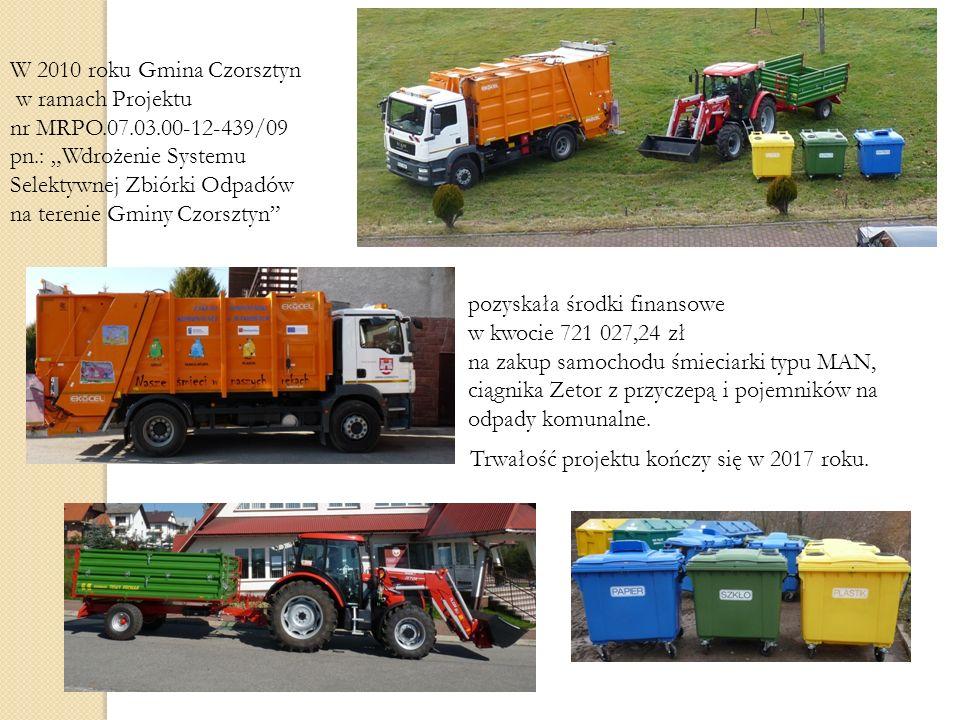 W 2010 roku Gmina Czorsztyn w ramach Projektu nr MRPO.07.03.00-12-439/09 pn.: Wdrożenie Systemu Selektywnej Zbiórki Odpadów na terenie Gminy Czorsztyn