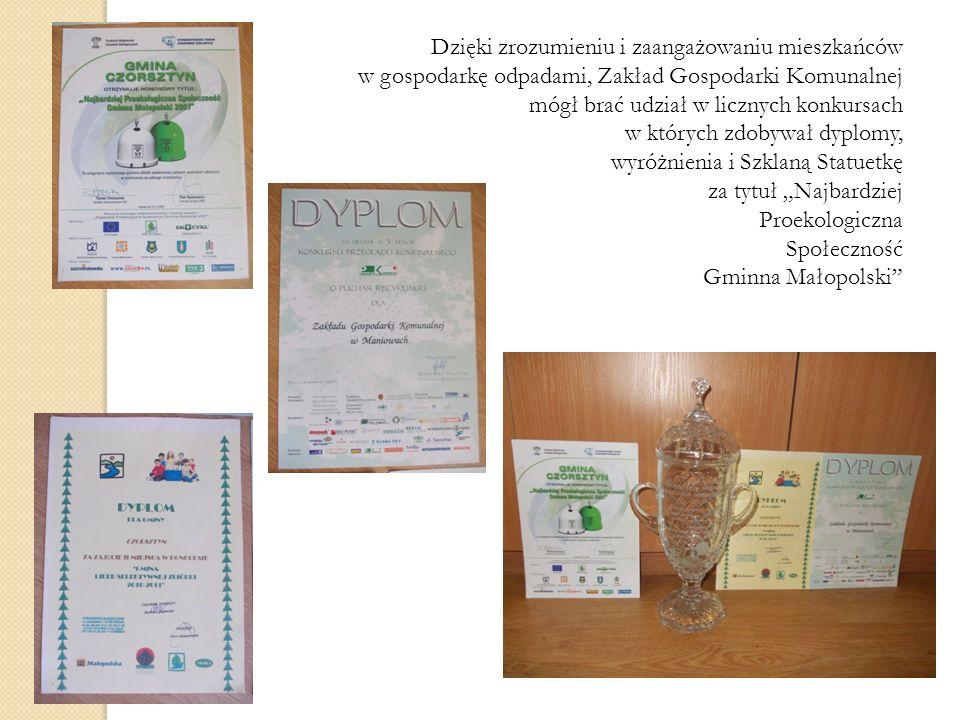Dzięki zrozumieniu i zaangażowaniu mieszkańców w gospodarkę odpadami, Zakład Gospodarki Komunalnej mógł brać udział w licznych konkursach w których zd