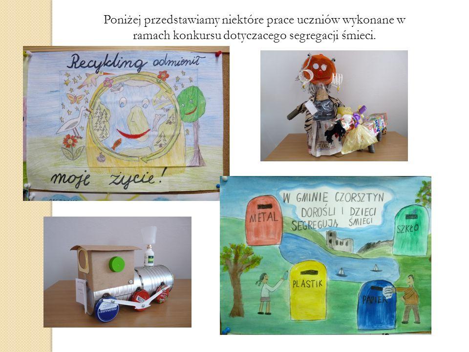 Poniżej przedstawiamy niektóre prace uczniów wykonane w ramach konkursu dotyczacego segregacji śmieci.