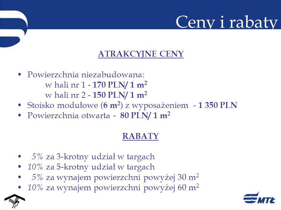 Ceny i rabaty ATRAKCYJNE CENY Powierzchnia niezabudowana: w hali nr 1 - 170 PLN/ 1 m 2 w hali nr 2 - 150 PLN/ 1 m 2 Stoisko modułowe ( 6 m 2 ) z wypos