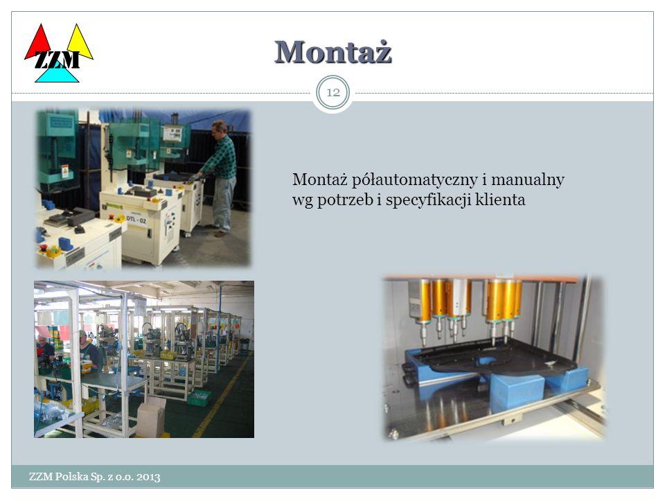 ZZM Polska Sp. z o.o. 2013 12 Montaż Montaż półautomatyczny i manualny wg potrzeb i specyfikacji klienta ZZM