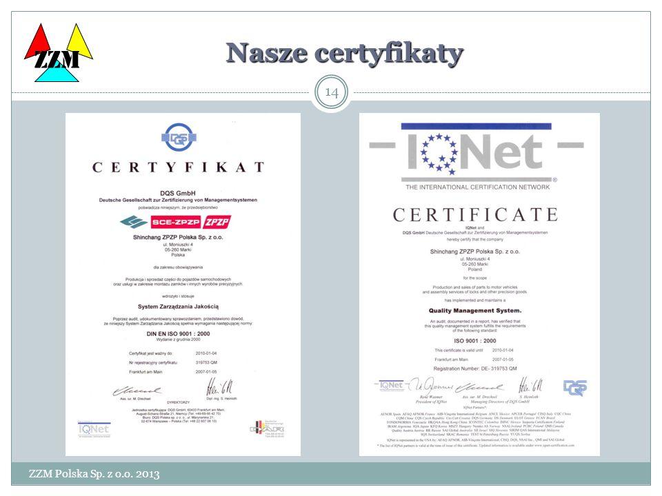 ZZM Polska Sp. z o.o. 2013 14 ZZM Nasze certyfikaty