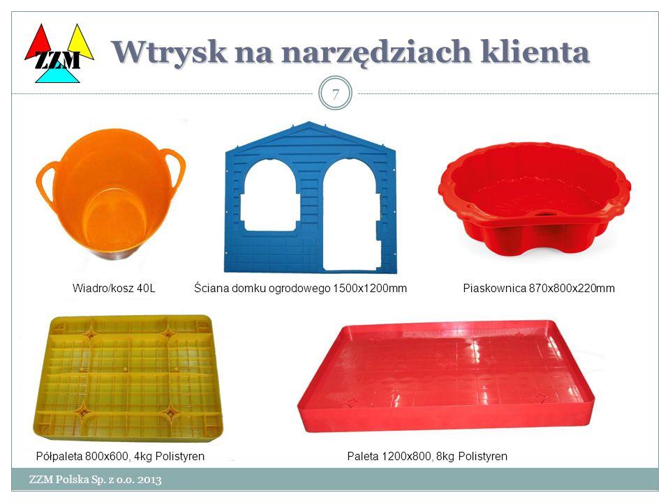 ZZM Polska Sp. z o.o. 2013 7 Wtrysk na narzędziach klienta Wtrysk na narzędziach klienta ZZM Paleta 1200x800, 8kg PolistyrenPółpaleta 800x600, 4kg Pol