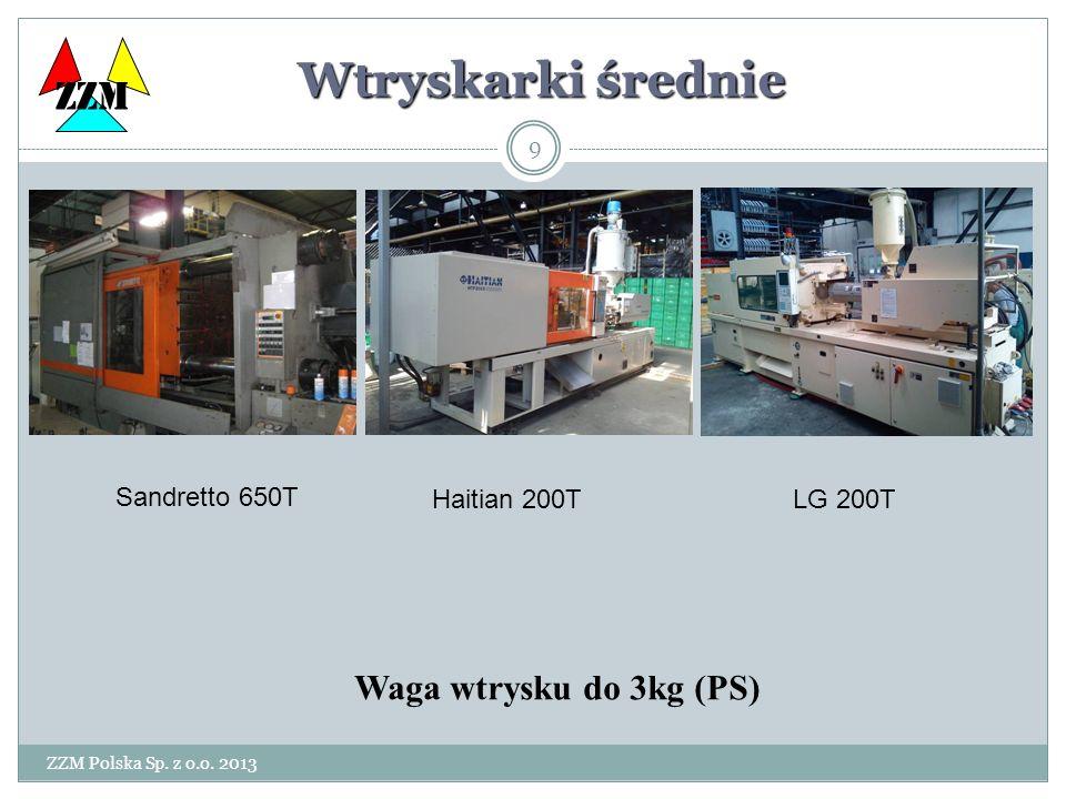 ZZM Polska Sp. z o.o. 2013 9 Wtryskarki średnie Waga wtrysku do 3kg (PS) ZZM Sandretto 650T Haitian 200TLG 200T